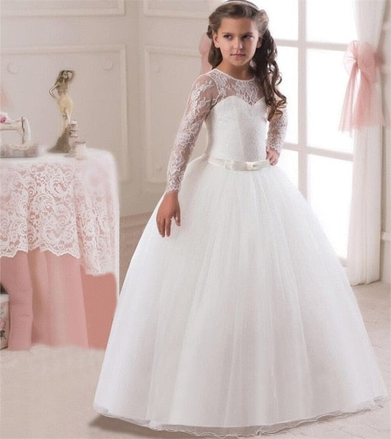 Kids Fancy Girl Flower Petals Dress Children Bridesmaid Outfits Elegant Dress for Girl Vestido Party Prom Gown Princess Costume-hipnfly-White 2-6-hipnfly