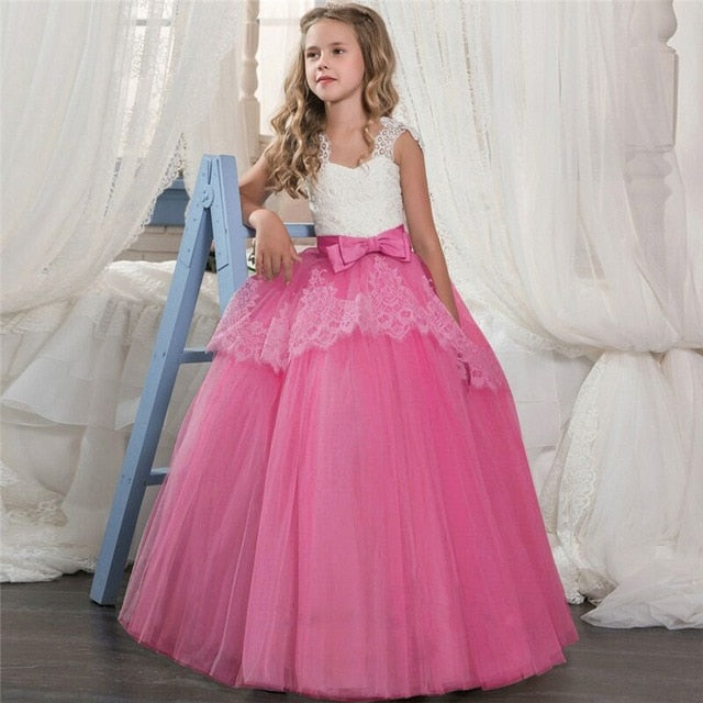 Kids Fancy Girl Flower Petals Dress Children Bridesmaid Outfits Elegant Dress for Girl Vestido Party Prom Gown Princess Costume-hipnfly-As picture 3-6-hipnfly