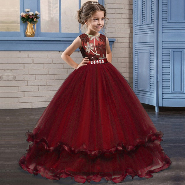 Kids Fancy Girl Flower Petals Dress Children Bridesmaid Outfits Elegant Dress for Girl Vestido Party Prom Gown Princess Costume-hipnfly-red-6-hipnfly