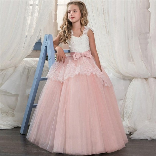 Kids Fancy Girl Flower Petals Dress Children Bridesmaid Outfits Elegant Dress for Girl Vestido Party Prom Gown Princess Costume-hipnfly-As picture-6-hipnfly