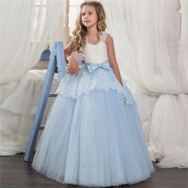 Kids Fancy Girl Flower Petals Dress Children Bridesmaid Outfits Elegant Dress for Girl Vestido Party Prom Gown Princess Costume-hipnfly-As picture 1-6-hipnfly