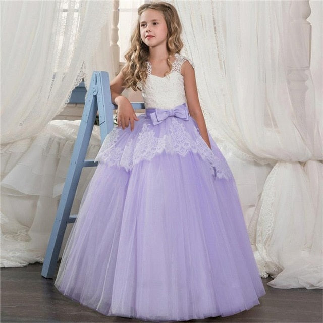 Kids Fancy Girl Flower Petals Dress Children Bridesmaid Outfits Elegant Dress for Girl Vestido Party Prom Gown Princess Costume-hipnfly-As picture 4-6-hipnfly