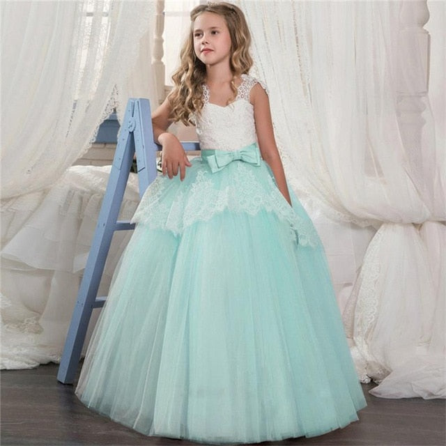 Kids Fancy Girl Flower Petals Dress Children Bridesmaid Outfits Elegant Dress for Girl Vestido Party Prom Gown Princess Costume-hipnfly-As picture 2-6-hipnfly