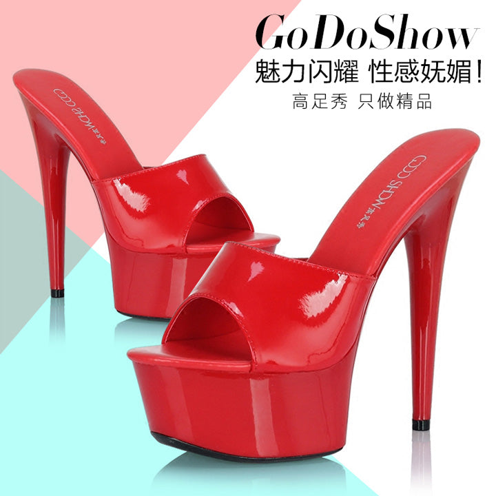 Woman Wedding Shoes Sandals 2016 Nightclub Sexy High-heeled Shoes Slippers Fine With Platform Sandal Heel High15cm Summer Pumps