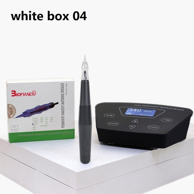 Biomaser Professional Eyebrow Tattoo Machine Pen For Permanent Make Up Eyebrows Microblading Makeup DIY Kit With Tattoo Needle-hipnfly-China-White box 04-hipnfly