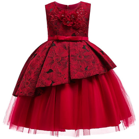 Children Wedding party Kids Dresses for girls Open back Beading Flower girls baby Girls Clothes Kids Christmas Party Dress