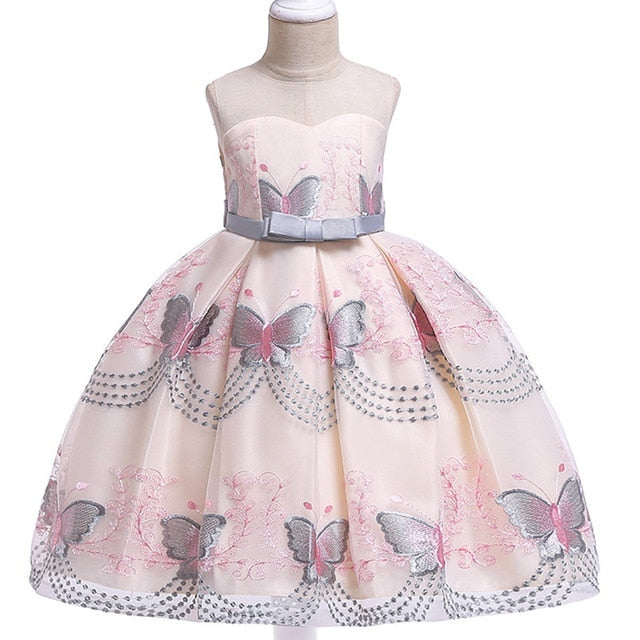 Children Girl Party Dress Wedding Christmas Evening Formal dresses Kids Sleeveless Flower Dresses for girls 3-10 years Princess-hipnfly-gray-3T-hipnfly