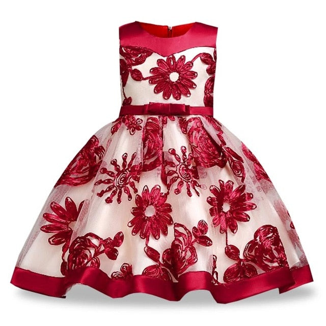 Children Girl Party Dress Wedding Christmas Evening Formal dresses Kids Sleeveless Flower Dresses for girls 3-10 years Princess-hipnfly-Red wine-3T-hipnfly