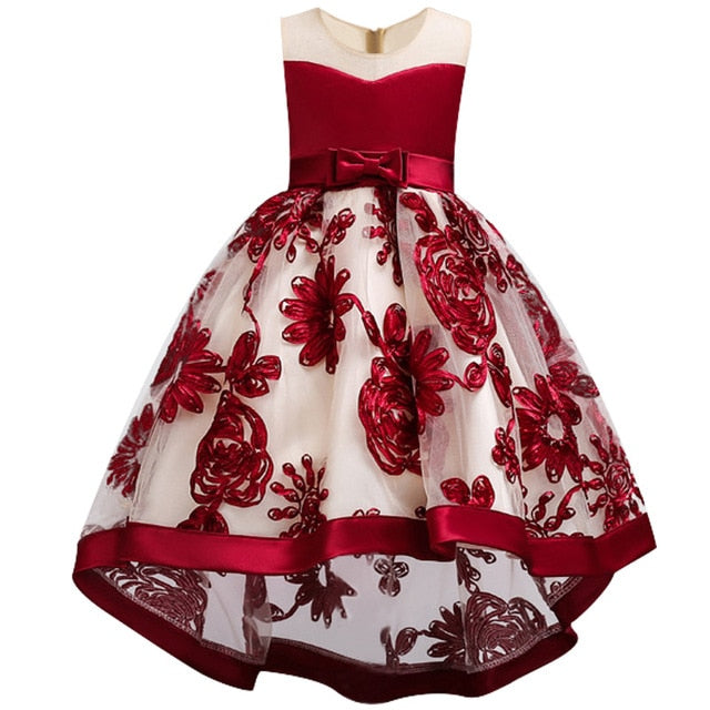 Children Girl Party Dress Wedding Christmas Evening Formal dresses Kids Sleeveless Flower Dresses for girls 3-10 years Princess-hipnfly-Red wine 1-3T-hipnfly