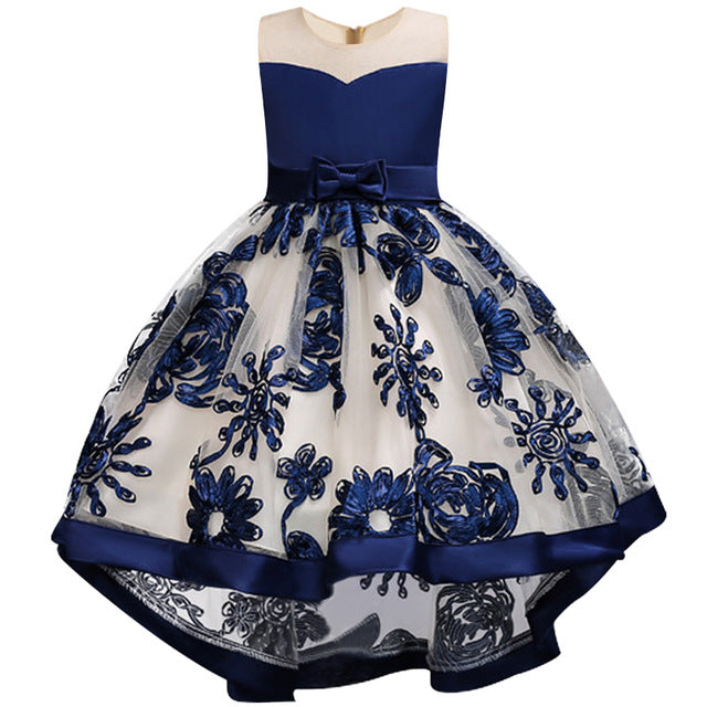 Children Girl Party Dress Wedding Christmas Evening Formal dresses Kids Sleeveless Flower Dresses for girls 3-10 years Princess-hipnfly-blue 1-3T-hipnfly