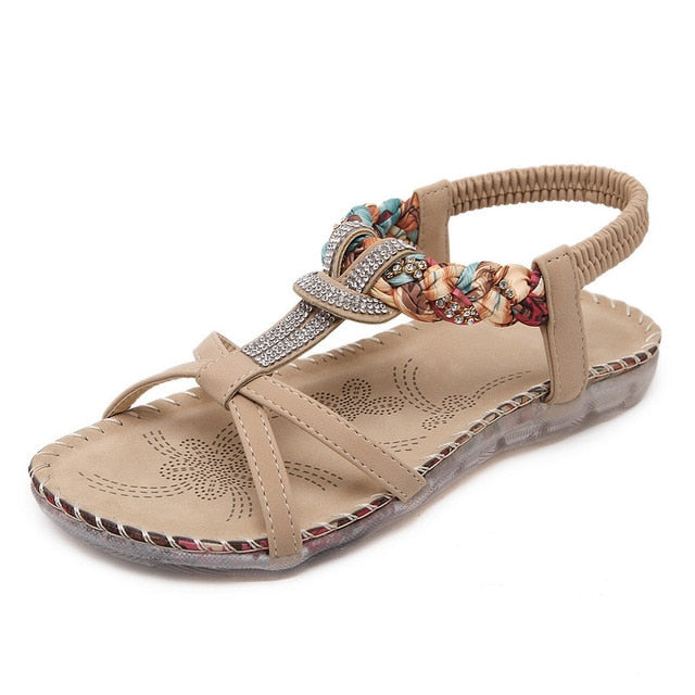 BEYARNE Rhinestone Ladies Sandals Summer Woman Shoes Bohemian Women Sandals Fashion Flip Flops Women Casual Sandals Flat Shoes-hipnfly-Beige-4-hipnfly