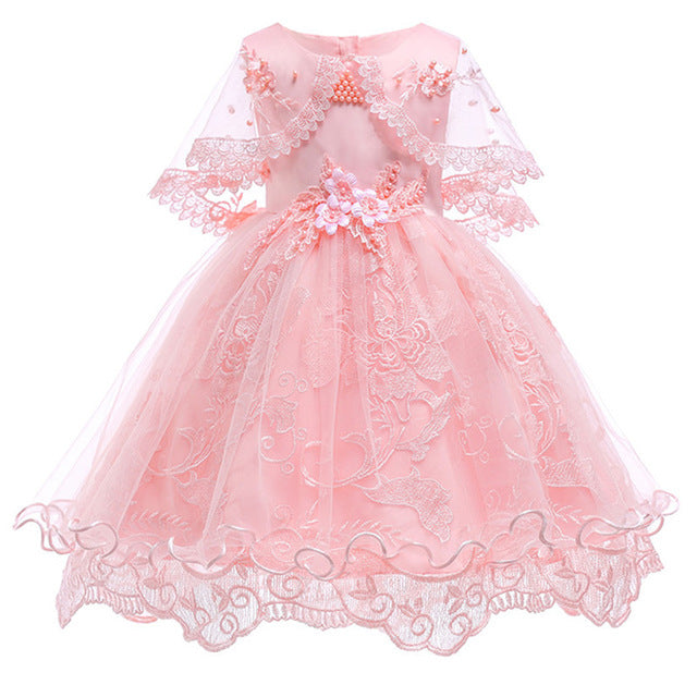 Children's dress 2018 new 3 4 5 6 7 8 years old lace color matching girls princess party dress summer baby tutu clothing-hipnfly-pink 1-3T-hipnfly