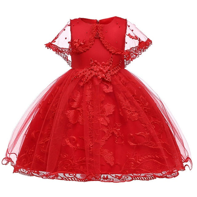 Children's dress 2018 new 3 4 5 6 7 8 years old lace color matching girls princess party dress summer baby tutu clothing-hipnfly-red 1-3T-hipnfly