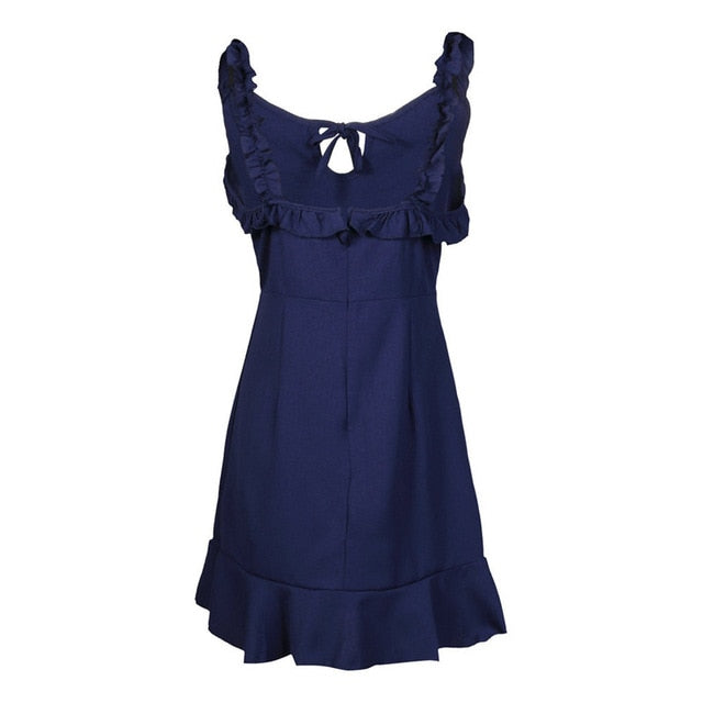 Nadafair Ruffle Mini A-Line Dress Backless Beach Club Party Dresses Women Streetwear Lace Up Spaghetti Strap Vestidos-hipnfly-Navy Blue-S-hipnfly
