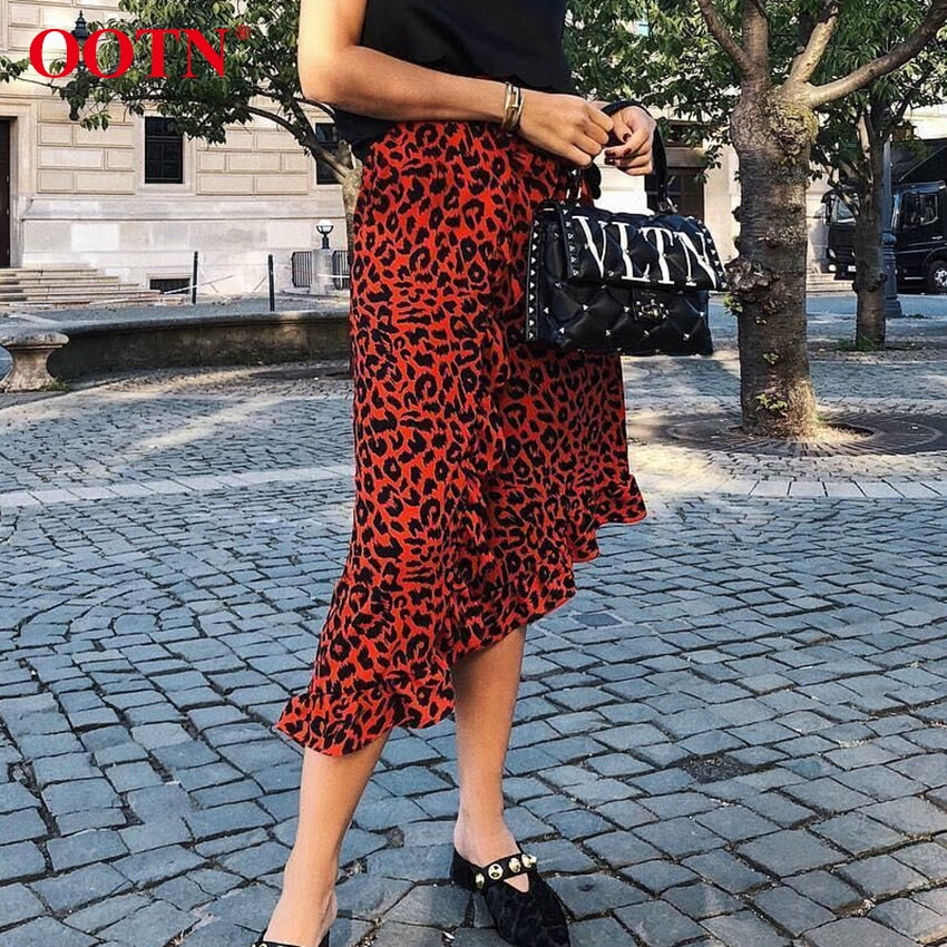 OOTN Leopard Long Skirt Women High Waist Midi Skirt Female Office Ruffle Animal Print Skirts Womens Summer Red 2019 Casual-hipnfly-hipnfly
