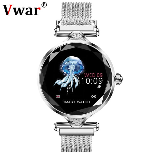 Vwar Women Fashion Smart Watch 2019 Blood Pressure Heart Rate Sleep Monitor Pedometer luxury ladies Smartwatch Gift for Girl-hipnfly-Silver-hipnfly