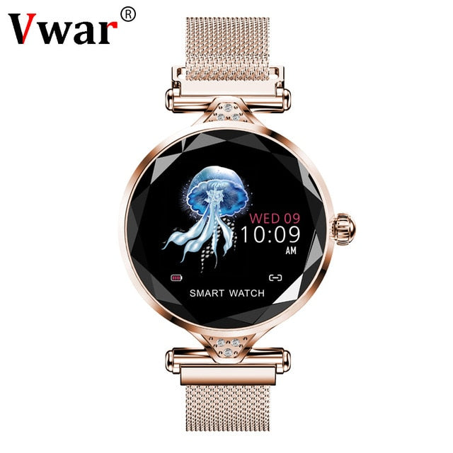 Vwar Women Fashion Smart Watch 2019 Blood Pressure Heart Rate Sleep Monitor Pedometer luxury ladies Smartwatch Gift for Girl-hipnfly-Gold-hipnfly