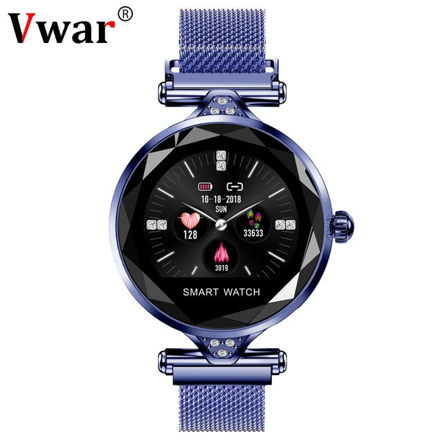 Vwar Women Fashion Smart Watch 2019 Blood Pressure Heart Rate Sleep Monitor Pedometer luxury ladies Smartwatch Gift for Girl-hipnfly-Peacock Blue-hipnfly