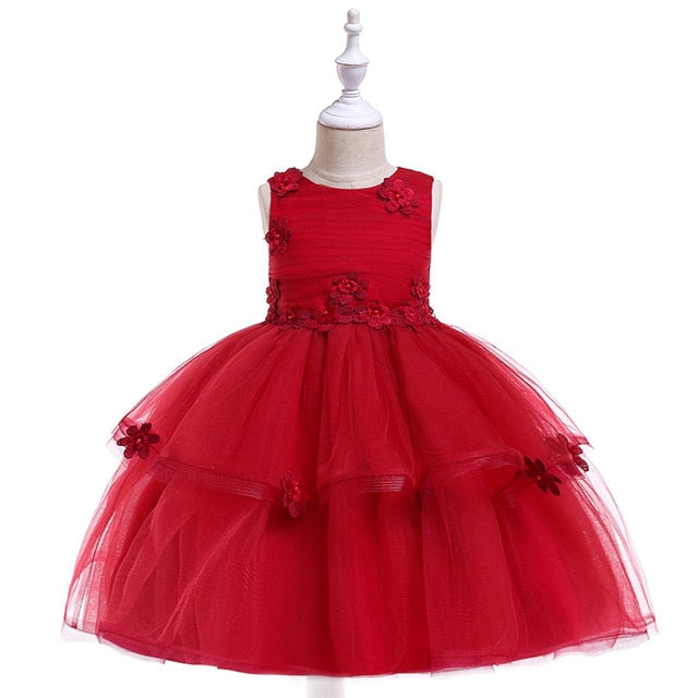 New High-grade Embroidery Girls Dresses For Christmas Party Princess Dresses,Sleeveless Wedding Dress Fpr Girls Clothes