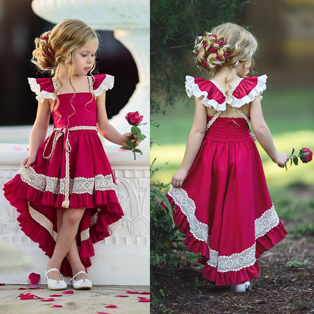 pudcoco Toddler Kids Girl Ruffle Lace Dress Sleevelss Party dress Pageant Dress baby girl Sleeveless Pageant Party 2018 dress-hipnfly-Red-12M-hipnfly
