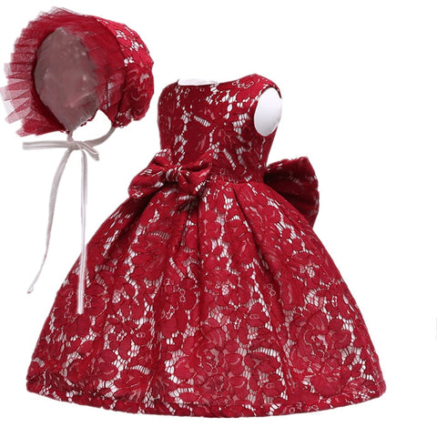 Summer infant Baby Girl Dress 2 pcs Hat+Lace Flower Princess Dresses for Girls 1st year birthday party wedding baby clothing