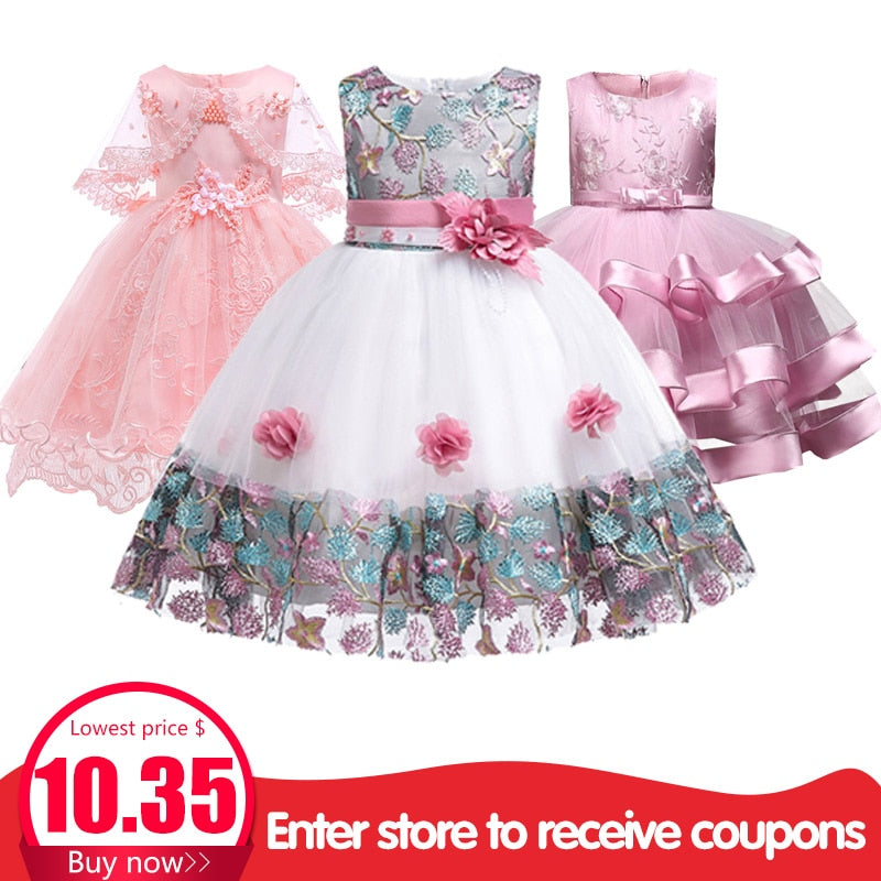 Children's dress 2018 new 3 4 5 6 7 8  years old lace color matching girls princess party dress summer baby tutu clothing