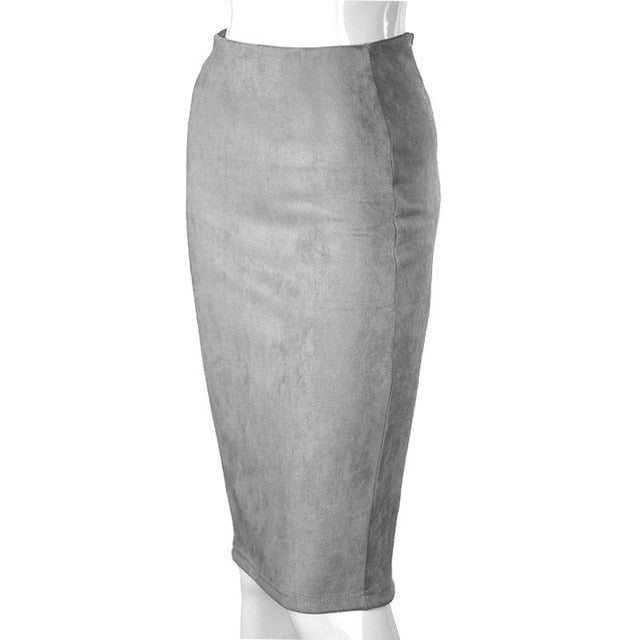Aonibeier Women Suede Solid Color Pencil Skirt Female Autumn Winter High Waist Bodycon Vintage Split Thick Stretchy Skirts-hipnfly-Light Grey-L-hipnfly
