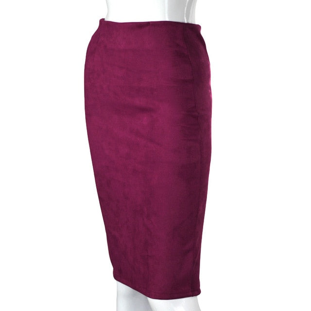 Aonibeier Women Suede Solid Color Pencil Skirt Female Autumn Winter High Waist Bodycon Vintage Split Thick Stretchy Skirts-hipnfly-Purple-L-hipnfly