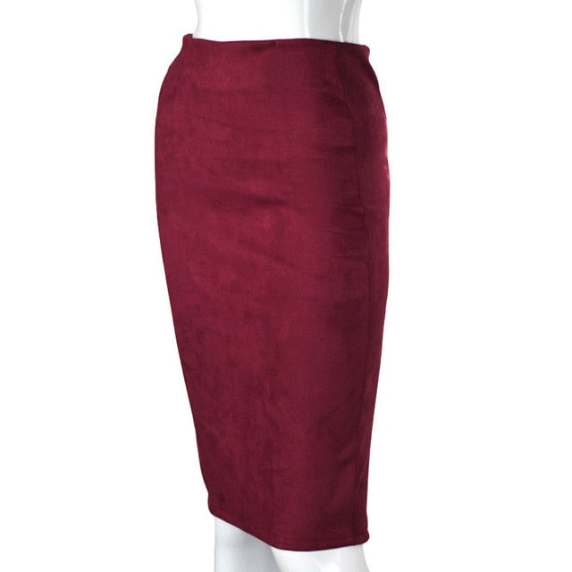 Aonibeier Women Suede Solid Color Pencil Skirt Female Autumn Winter High Waist Bodycon Vintage Split Thick Stretchy Skirts-hipnfly-Dark Red-L-hipnfly