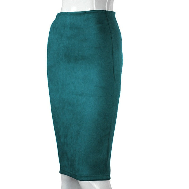 Aonibeier Women Suede Solid Color Pencil Skirt Female Autumn Winter High Waist Bodycon Vintage Split Thick Stretchy Skirts-hipnfly-Peacock Green-S-hipnfly