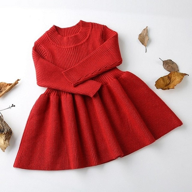 Girls Knitted Dress 2019 autumn winter Clothes Lattice Kids Toddler baby dress for girl princess Cotton warm Christmas Dresses-hipnfly-as pictures 3-3T-hipnfly