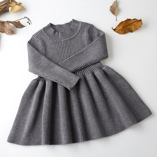 Girls Knitted Dress 2019 autumn winter Clothes Lattice Kids Toddler baby dress for girl princess Cotton warm Christmas Dresses-hipnfly-as pictures 9-3T-hipnfly