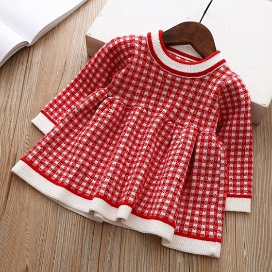 Girls Knitted Dress 2019 autumn winter Clothes Lattice Kids Toddler baby dress for girl princess Cotton warm Christmas Dresses-hipnfly-as pictures 1-3T-hipnfly