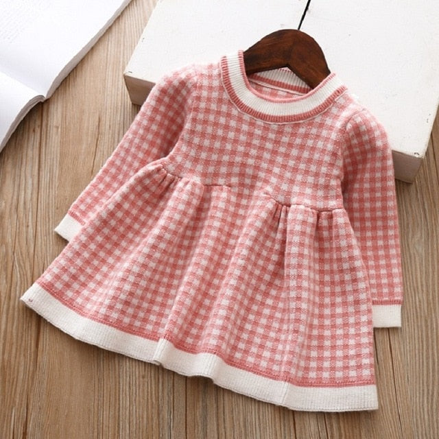 Girls Knitted Dress 2019 autumn winter Clothes Lattice Kids Toddler baby dress for girl princess Cotton warm Christmas Dresses-hipnfly-as pictures 2-3T-hipnfly