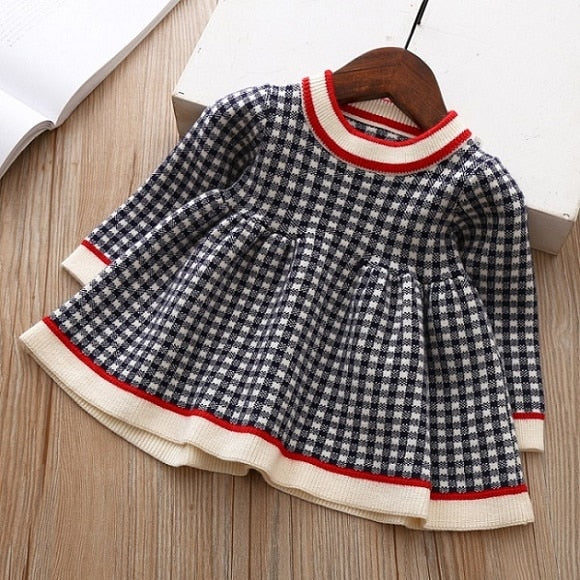 Girls Knitted Dress 2019 autumn winter Clothes Lattice Kids Toddler baby dress for girl princess Cotton warm Christmas Dresses-hipnfly-as pictures 13-3T-hipnfly