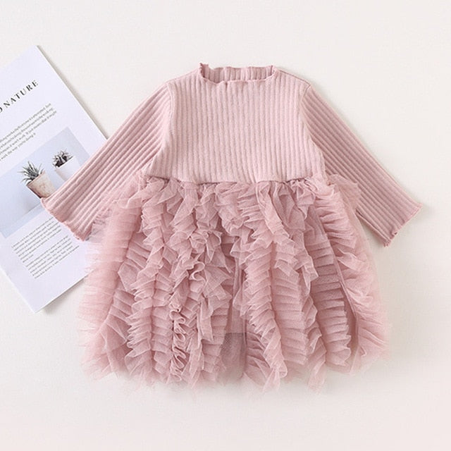 Girls Knitted Dress 2019 autumn winter Clothes Lattice Kids Toddler baby dress for girl princess Cotton warm Christmas Dresses-hipnfly-as pictures 5-3T-hipnfly