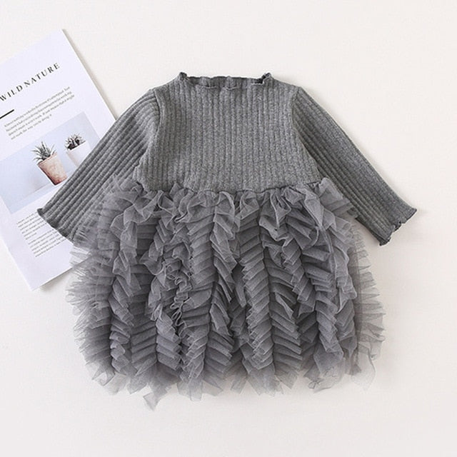 Girls Knitted Dress 2019 autumn winter Clothes Lattice Kids Toddler baby dress for girl princess Cotton warm Christmas Dresses-hipnfly-as pictures 6-3T-hipnfly
