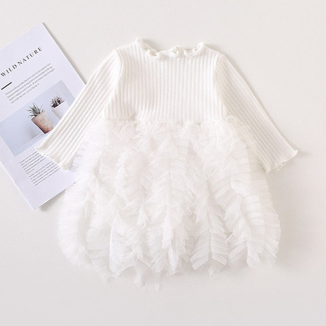 Girls Knitted Dress 2019 autumn winter Clothes Lattice Kids Toddler baby dress for girl princess Cotton warm Christmas Dresses-hipnfly-as pictures 4-3T-hipnfly