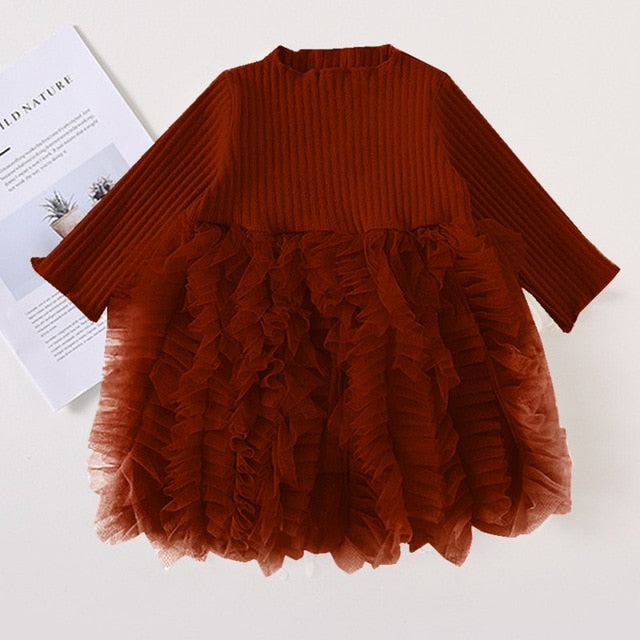 Girls Knitted Dress 2019 autumn winter Clothes Lattice Kids Toddler baby dress for girl princess Cotton warm Christmas Dresses-hipnfly-as pictures-3T-hipnfly