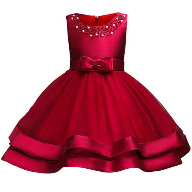 Baby Girls Party Dress 2018 Elegant Girl Evening Dress For Wedding Birthday Kids Dresses For 2 to 10 yeas Girls Clothes-hipnfly-wine red 2-2T-hipnfly
