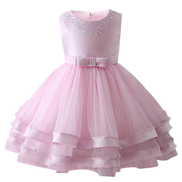Baby Girls Party Dress 2018 Elegant Girl Evening Dress For Wedding Birthday Kids Dresses For 2 to 10 yeas Girls Clothes-hipnfly-Pink-2T-hipnfly