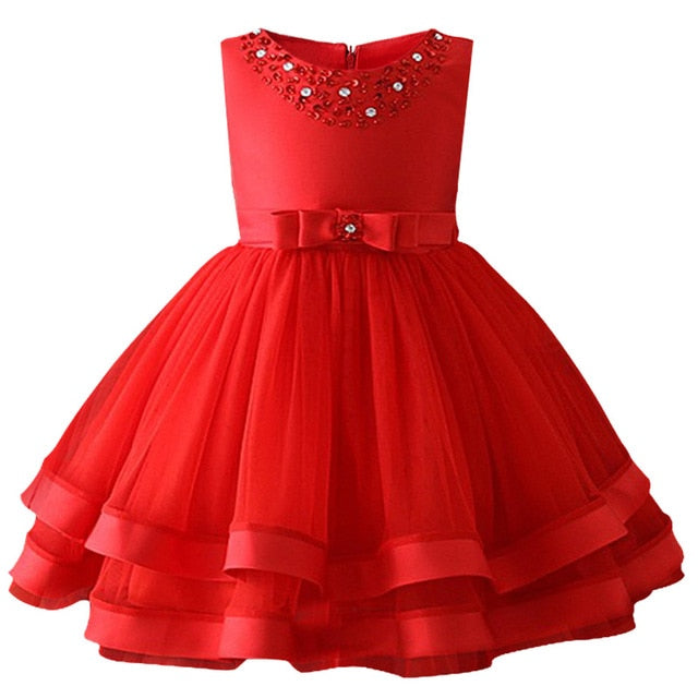 Baby Girls Party Dress 2018 Elegant Girl Evening Dress For Wedding Birthday Kids Dresses For 2 to 10 yeas Girls Clothes-hipnfly-Red-2T-hipnfly