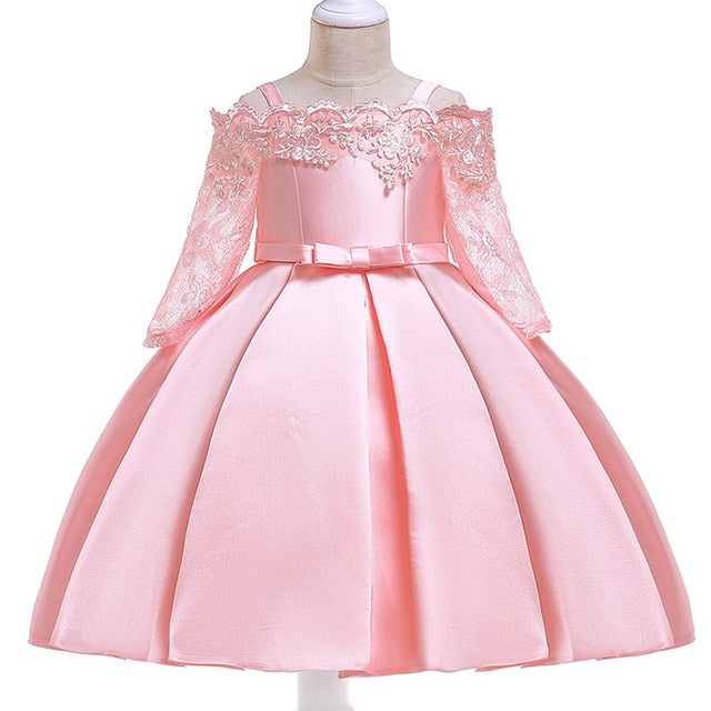 Baby Girls Party Dress 2018 Elegant Girl Evening Dress For Wedding Birthday Kids Dresses For 2 to 10 yeas Girls Clothes-hipnfly-Flesh pink-2T-hipnfly