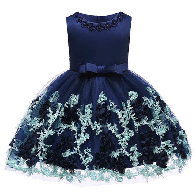 Baby Girls Party Dress 2018 Elegant Girl Evening Dress For Wedding Birthday Kids Dresses For 2 to 10 yeas Girls Clothes-hipnfly-Dark blue-2T-hipnfly