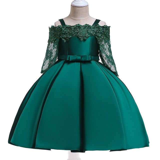 Baby Girls Party Dress 2018 Elegant Girl Evening Dress For Wedding Birthday Kids Dresses For 2 to 10 yeas Girls Clothes-hipnfly-Dark green-2T-hipnfly