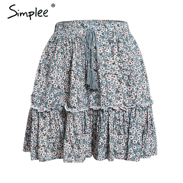 Simplee Casual polka dot mini women skirt High waist A line korean tassel pink summer skirt Sexy ruffle beach female skirts 2019-hipnfly-Green-S-hipnfly
