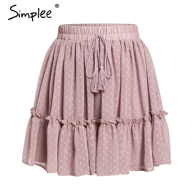 Simplee Casual polka dot mini women skirt High waist A line korean tassel pink summer skirt Sexy ruffle beach female skirts 2019-hipnfly-Pink-S-hipnfly