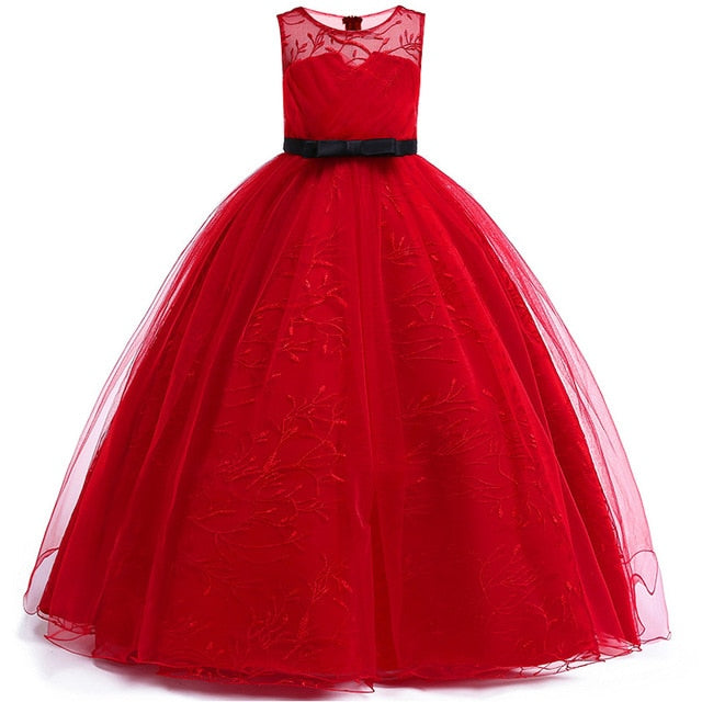 4-14Y Lace Teenagers Kids Girls Wedding Long Dress elegant Princess Party Pageant Christmas Formal Sleeveless Dress Clothes
