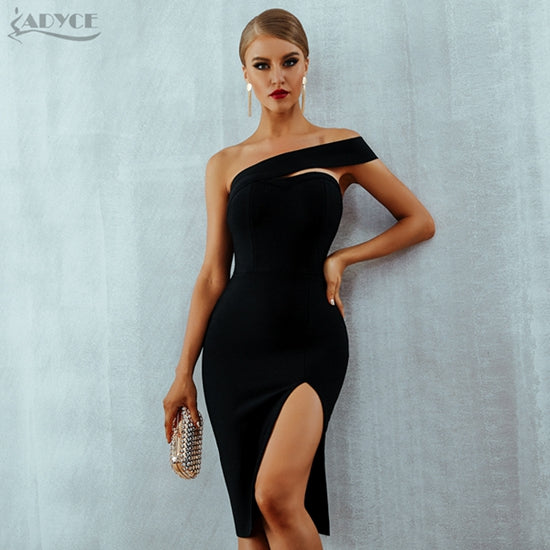 Adyce Bodycon Bandage Dress Women Vestidos Verano 2019 Summer Sexy Elegant White Black One Shoulder Midi Celebrity Party Dresses-hipnfly-Black-L-hipnfly