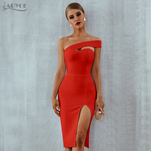 Adyce Bodycon Bandage Dress Women Vestidos Verano 2019 Summer Sexy Elegant White Black One Shoulder Midi Celebrity Party Dresses-hipnfly-Red-L-hipnfly